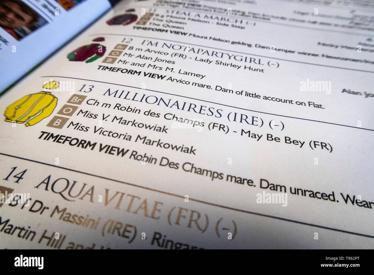 Race programme for Newton Abbot races, Devon, UK. Horse racing. - Stock Image
