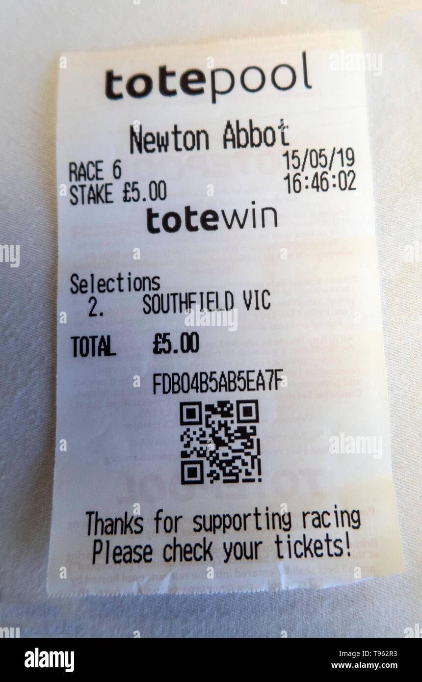 Tote betting slips for Southfield Vic at Newton Abbot horse racing course, Devon, UK. Stock Photo