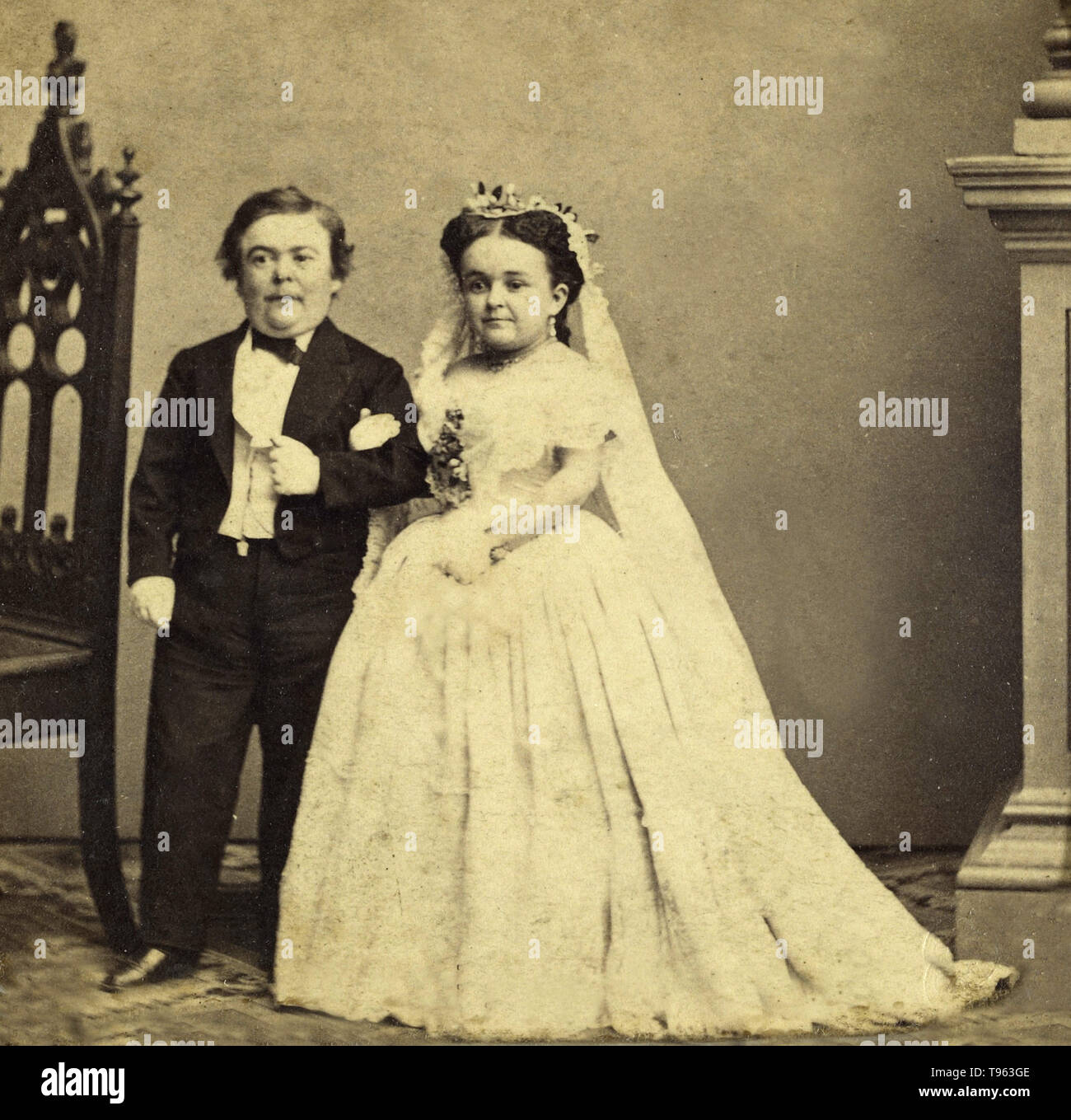Wedding portrait of 'General Tom Thumb' and Lavinia Warren, 1863. Charles Dauvois (French, active 1860s). Charles Sherwood Stratton (1838-1883), 'General Tom Thumb,' was an American dwarf performer. P.T. Barnum, a distant relative, taught the boy how to sing, dance, mime, and impersonate famous people. Barnum took young Stratton on a tour of Europe, making him an international celebrity. He later became Barnum's business partner. His marriage with a little person, Lavinia Warren (1842-1919), was front-page news. Following the wedding, the couple was received by President Lincoln at the White H - Stock Image