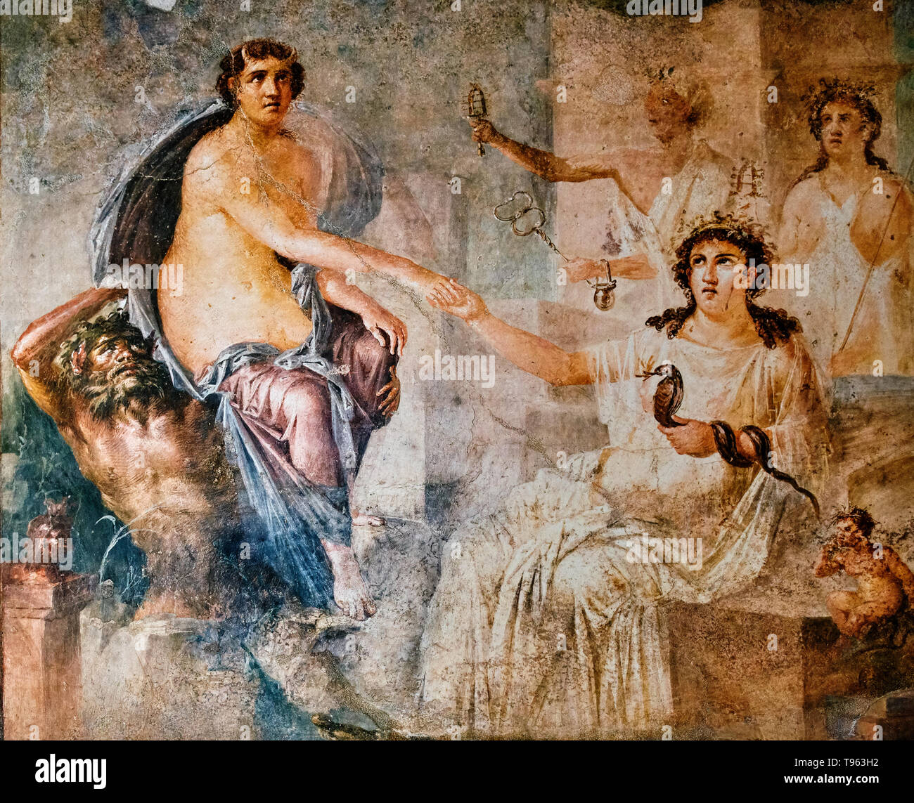 fresco of the nymph Io saved by Hermes in Pompeii - Stock Image