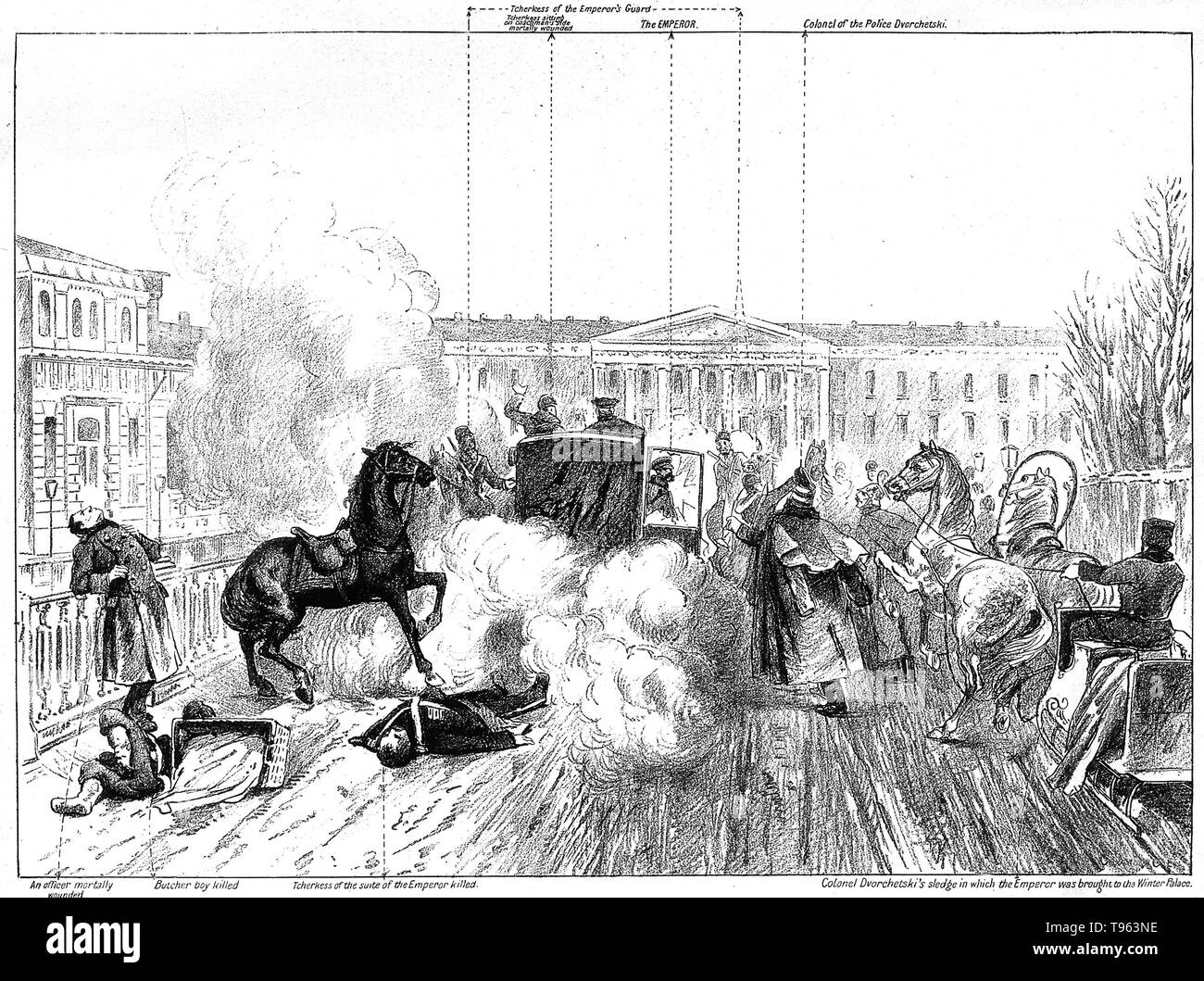 The assassination of Tsar Alexander II: the place outside the Winter Palace in St. Petersburg is strewn with corpses and debris of the bomb-explosion, while Alexander emerges alive from his coach, only to be killed by another bomb shortly afterward. Labeled lithograph. Alexander II (1818 - 1881) was the Emperor of Russia from 2 March 1855 until his assassination on 13 March 1881. He was also the King of Poland and the Grand Duke of Finland. - Stock Image