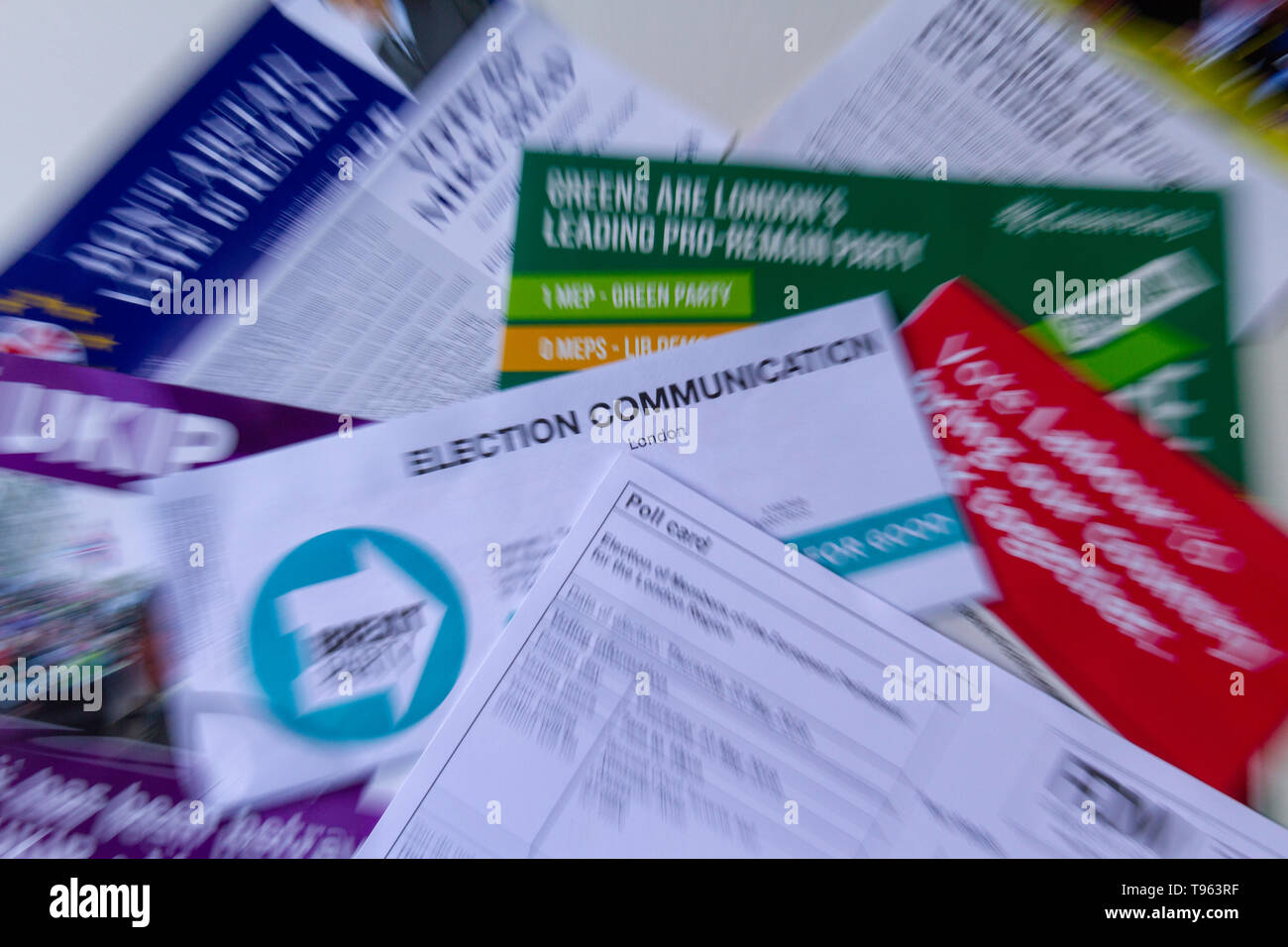 Zoomed in shot of poll card and election material for the European Parliament elections 23rd May 2019; the on/off elections in the UK - Stock Image
