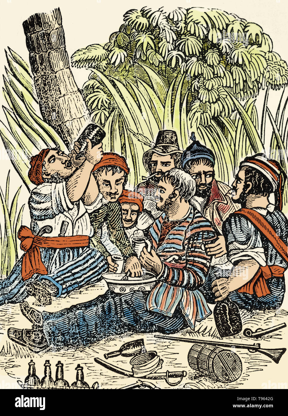 Bartholomew Roberts' crew drinking rum at the Calabar River in West Africa. Bartholomew Roberts (1682-1722) was a Welsh pirate who raided ships off America and West Africa between 1719 and 1722. He was the most successful pirate of the Golden Age of Piracy, as measured by vessels captured, taking over 470 prizes in his career. He is also known as Black Bart. In 1723 Roberts had captured the Neptune, and many of his crew were drunk and unfit for duty just when he needed them most. Captain Roberts was killed by a grapeshot, which struck him in the throat while he stood on the deck. Before his bo - Stock Image