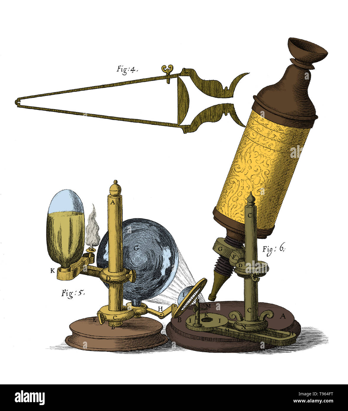 The hand-crafted, leather and gold-tooled microscope Robert Hooke used to make the observations for Micrographia (1665), was originally constructed by Christopher White in London. The microscope shared several common features with telescopes of the period: an eyecup to maintain the correct distance between the eye and eyepiece, separate draw tubes for focusing, and a ball and socket joint for inclining the body. - Stock Image