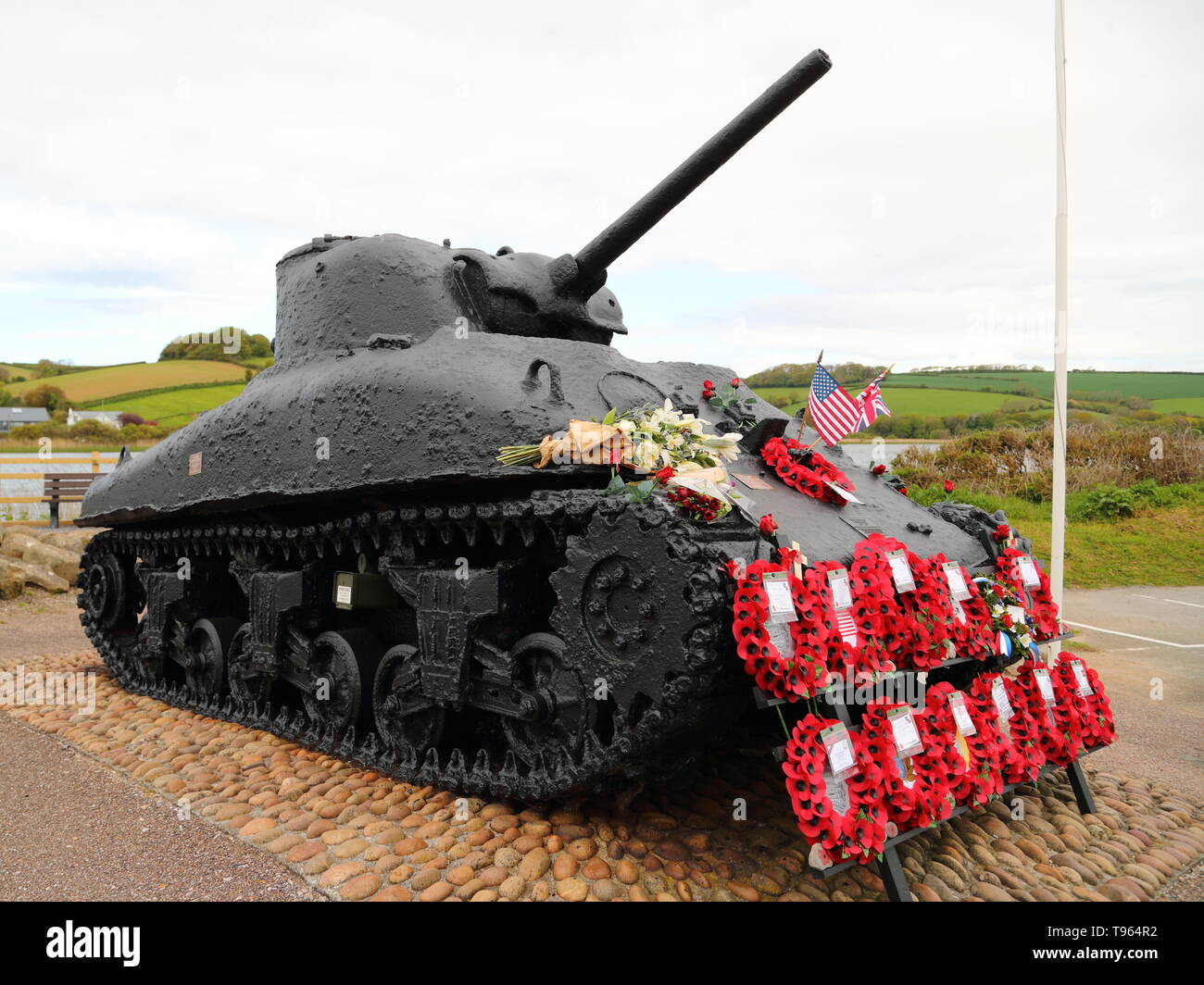 A Sherman tank recovered from the sea 40 years after it sank during an ill-fated exercise costing thousands of allied soldiers' lives in Devon, UK - Stock Image