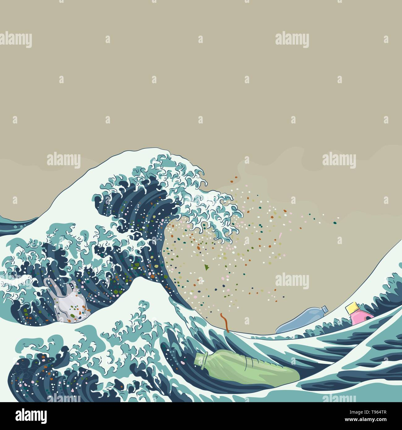 Aquatic plastic pollution concept. Great Wave of microplastic, japanese woodblock printing style vector illustration - Stock Image