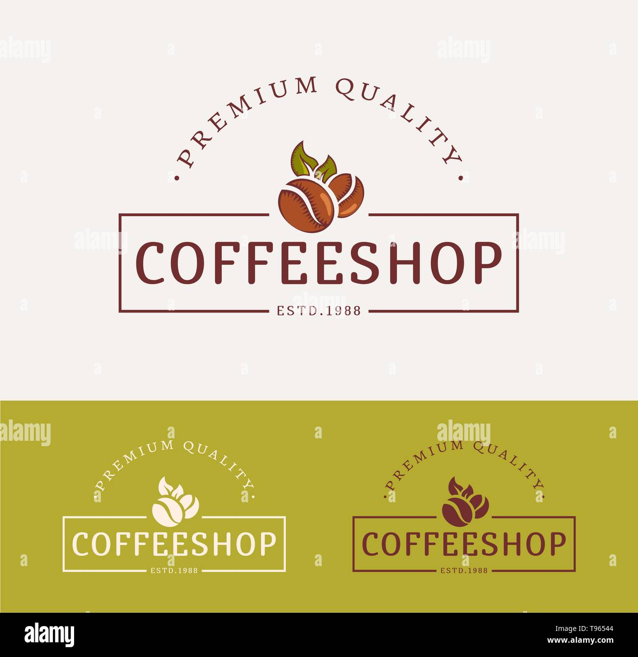 Coffee shop logos. Templates for сolor and monochrome versions. Logotypes isolated on clean background. Vector illustration. - Stock Vector