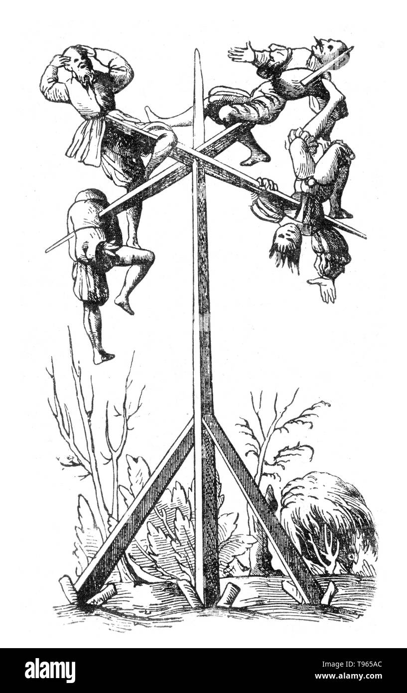 Die strafe des pfahlens (Penalty of the post). Impalement, as a method of execution and also torture, is the penetration of a human by an object such as a stake, pole, spear, or hook, often by complete or partial perforation of the torso. It was used particularly in response to crimes against the state and regarded across a number of cultures as a very harsh form of capital punishment and recorded in myth and art. Impalement was also used during wartime to suppress rebellion, punish traitors or collaborators, and as a punishment for breaches of military discipline. Offenders have also been imp - Stock Image