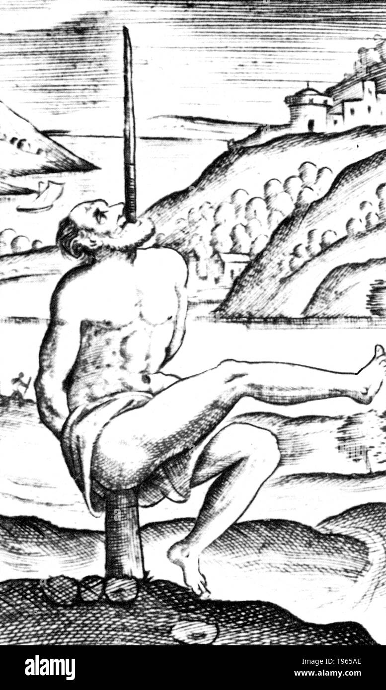 Detail of an engraving in De Cruce Libri Tres by Justus Lipsius, 1570. Impalement, as a method of execution and also torture, is the penetration of a human by an object such as a stake, pole, spear, or hook, often by complete or partial perforation of the torso. It was used particularly in response to crimes against the state and regarded across a number of cultures as a very harsh form of capital punishment and recorded in myth and art. Impalement was also used during wartime to suppress rebellion, punish traitors or collaborators, and as a punishment for breaches of military discipline. Offe - Stock Image