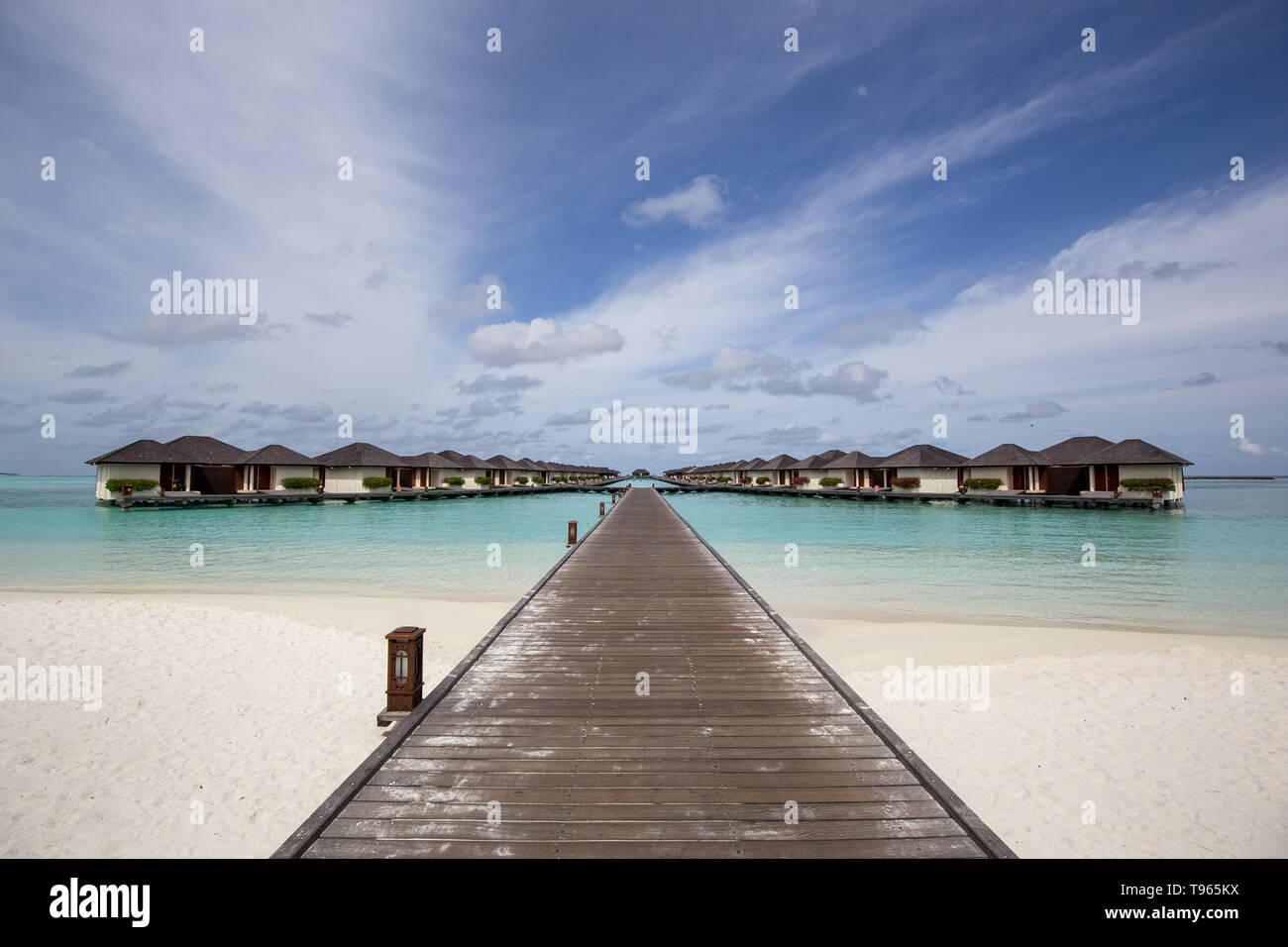 Maldives Paradise Island Resort Villas Stock Photo