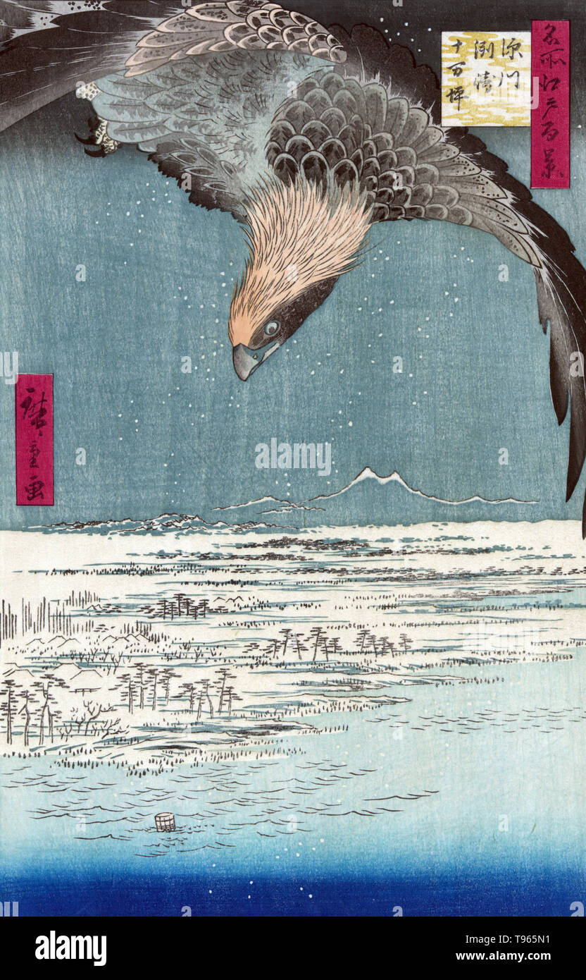 Fukagawa susaki jumantsubo. Hawk flying above a snowy landscape along the coastline. Ukiyo-e (picture of the floating world) is a genre of Japanese art which flourished from the 17th through 19th centuries. Ukiyo-e was central to forming the West's perception of Japanese art in the late 19th century.The landscape genre has come to dominate Western perceptions of ukiyo-e. - Stock Image