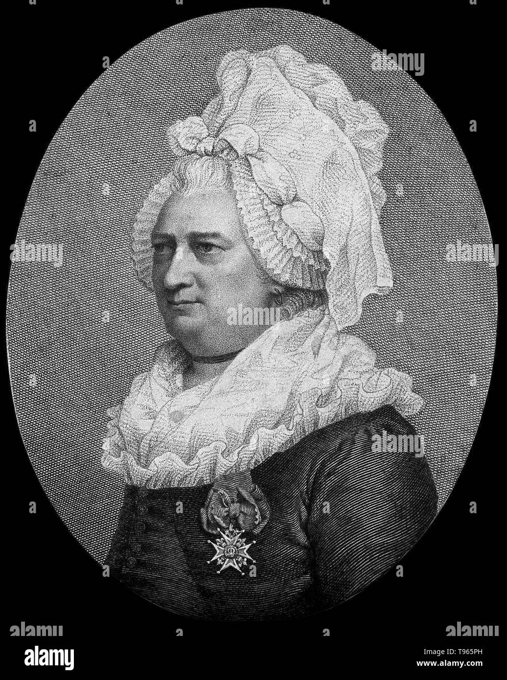 Charles-Geneviève-Louis-Auguste-André-Timothée d'Éon de Beaumont (October 5 1728 - May 21, 1810), usually known as the Chevalier d'Éon, was a French diplomat, spy, freemason and soldier who fought in the Seven Years' War. D'Éon had androgynous physical characteristics and natural abilities as a mimic, good features for a spy. D'Éon appeared publicly as a man and pursued masculine occupations for 49 years, although during that time d'Éon successfully infiltrated the court of Empress Elizabeth of Russia by presenting as a woman. For 33 years, from 1777, d'Éon dressed as a woman, identifying as f - Stock Image
