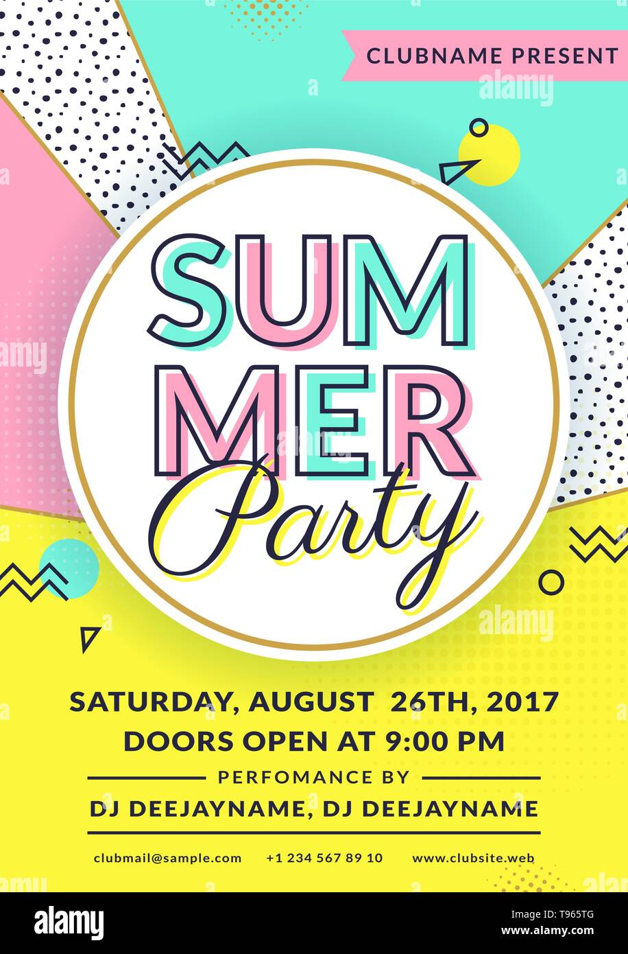 Summer party invitation. Flyer template. Vector design in trendy