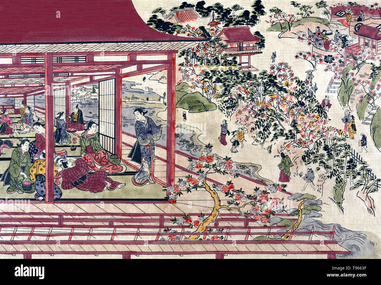 Ueno ikenohata sakura no hanami no kei. Print shows many people in a pavilion and in Ueno Park viewing blossoms on cherry trees. A cherry blossom (commonly known in Japan as sakura) is the flower of any of several trees of genus Prunus, particularly the Japanese cherry, Prunus serrulata. In Japan, cherry blossoms symbolize clouds due to their nature of blooming en masse, besides being an enduring metaphor for the ephemeral nature of life,  an aspect of Japanese cultural tradition that is often associated with Buddhist influence, and which is embodied in the concept of mono no aware. The associ - Stock Image