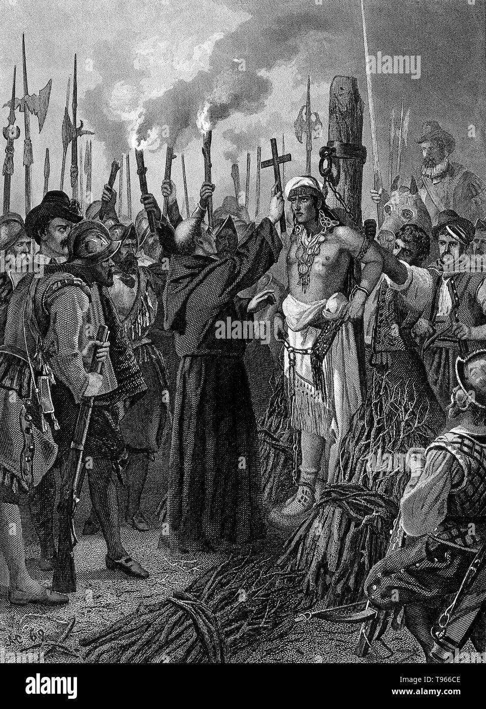 Engraving depicting the execution of Atahualpa Atahualpa (1497-1533) was the last sovereign emperor of the the Inca Empire, prior to the Spanish conquest of Peru. During the Spanish conquest of the Inca Empire, the Spaniard Francisco Pizarro captured Atahualpa and used him to control the Inca empire. The outnumbered Spanish saw Atahualpa as too much of a liability and decided to execute him. - Stock Image
