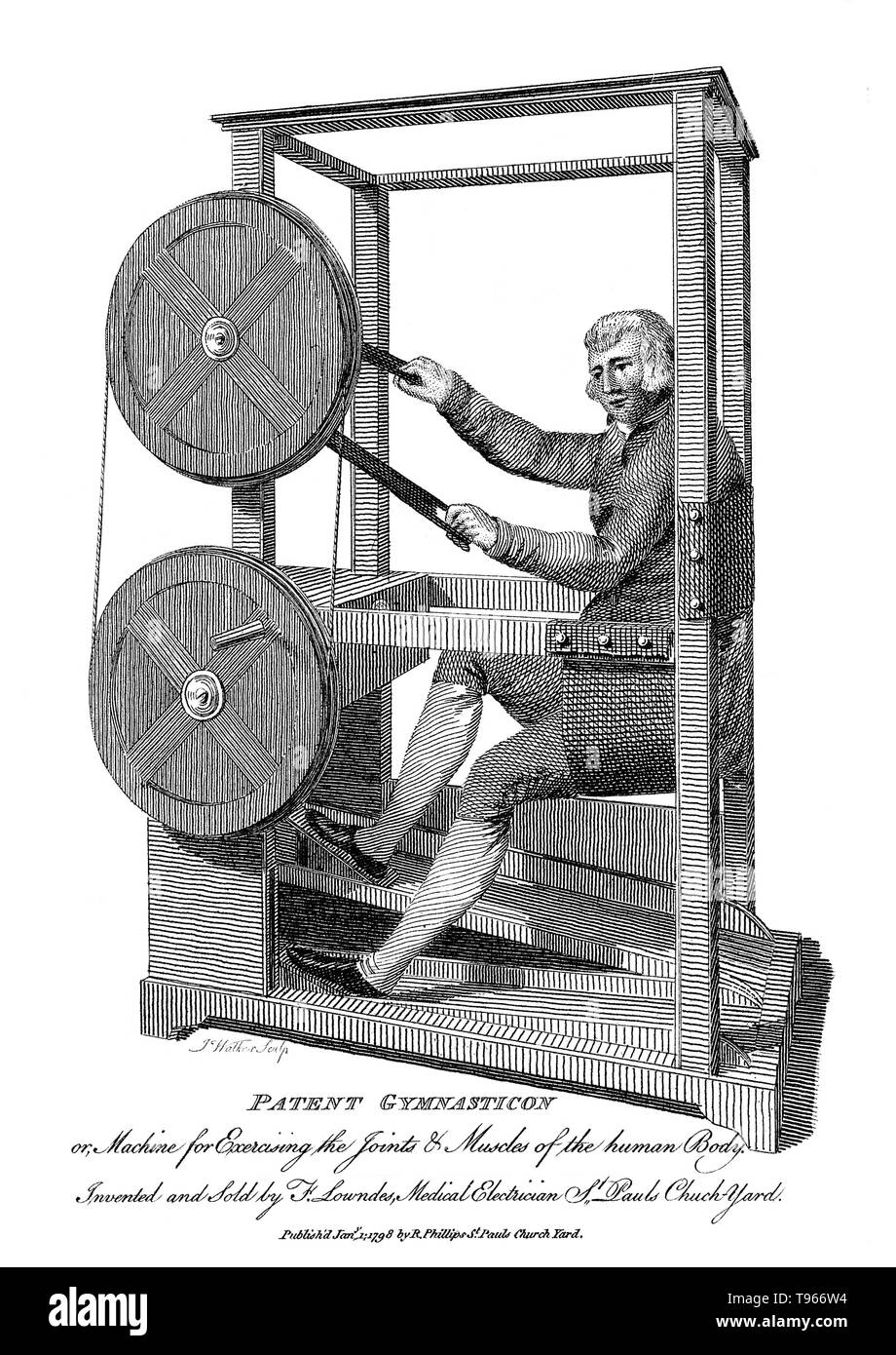 The Gymnasticon was an early exercise machine resembling a stationary bicycle, invented in 1796 by Francis Lowndes. In his patent, Lowndes described the machine as intended simply to give and apply motion and exercise, voluntary or involuntary, to the limbs, joints, and muscles of the human body. The Gymnasticon depended on a set of flywheels that connected the wooden treadles for the feet to cranks for the hands, which could drive each other or operate independently. It was an early example of a series of new technologies in gymnastics that would lead to the development of physical therapy in - Stock Image