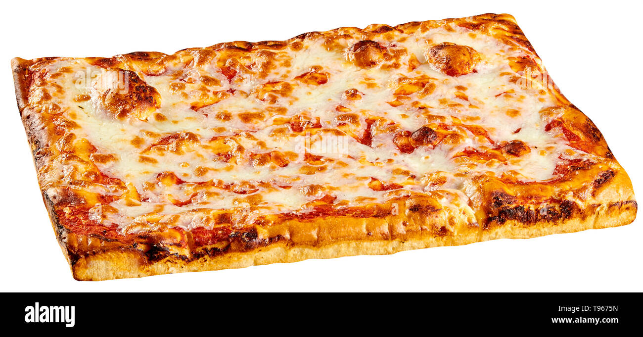 Classic rectangular bakery Margherita pizza topped with tomato and melted mozzarella cheese isolated on white - Stock Image