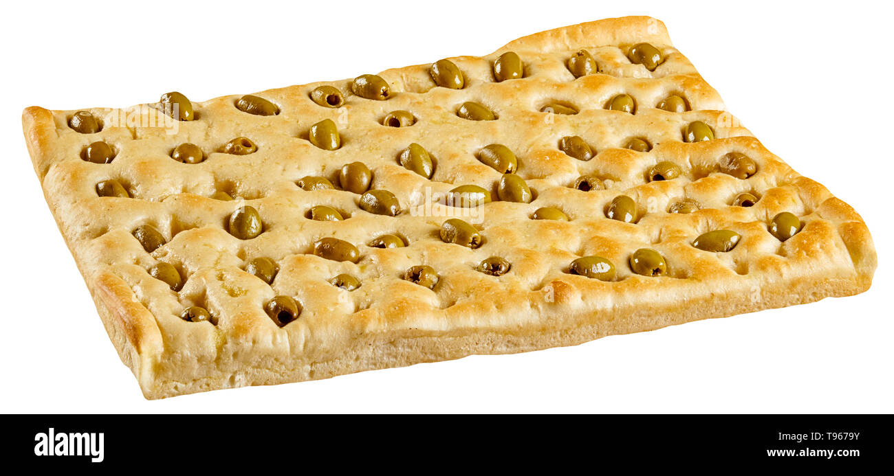 Golden baked traditional Italian focaccia bread with green olives in a rectangular serving isolated on white viewed low angle - Stock Image