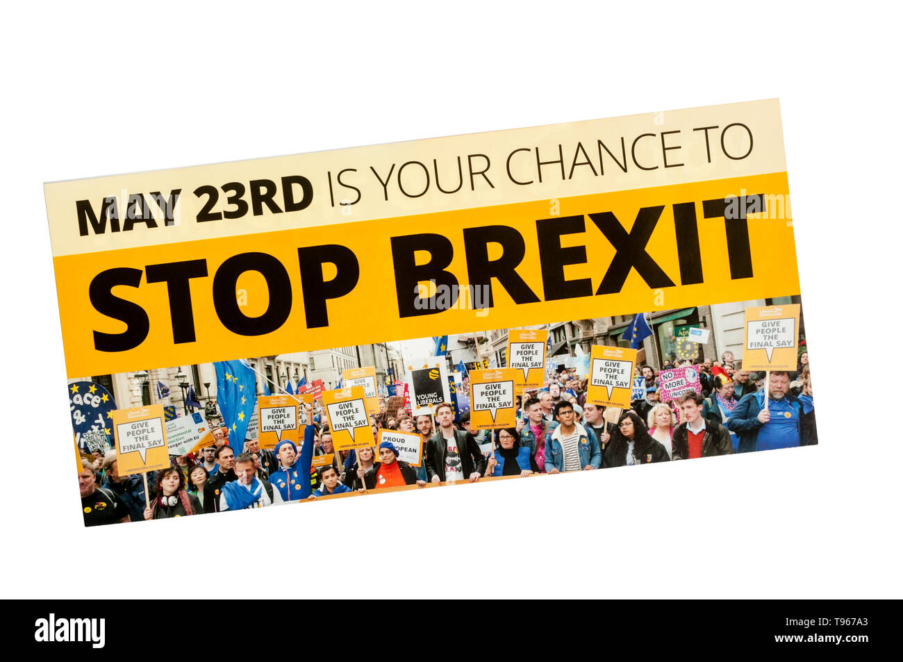 European election leaflet 2019 from Liberal Democrats. Stock Photo