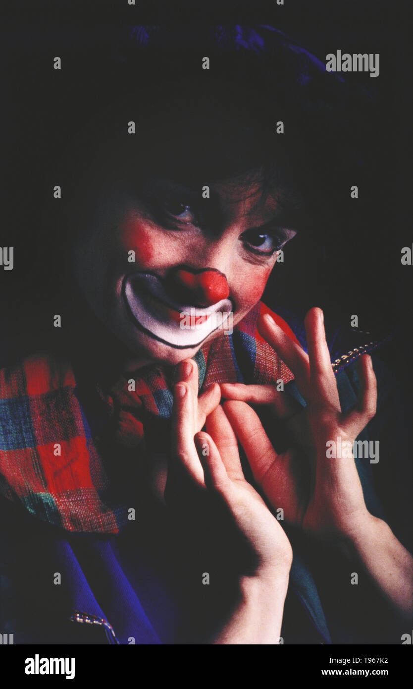 PORTRAIT OF A CLOWN MIME ARTIST - Stock Image