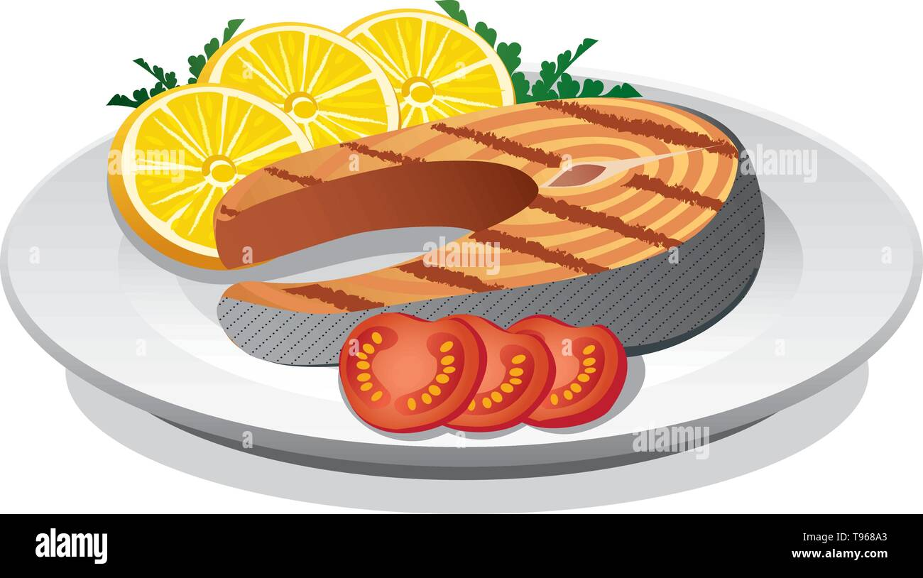 salmon sreak prepared - Stock Vector