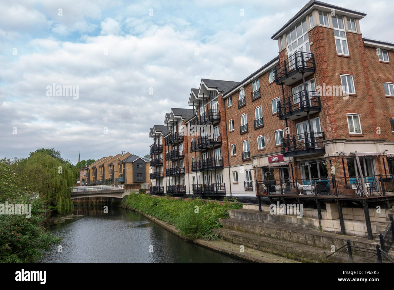 General view of Brentford Lock West housing development on the River Brent, West London, UK. - Stock Image