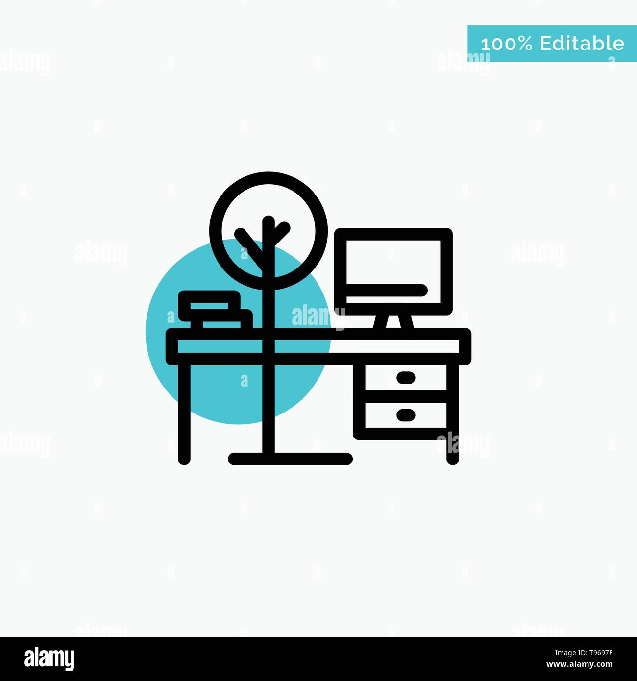 Comfort Desk Office Place Table Turquoise Highlight Circle Point