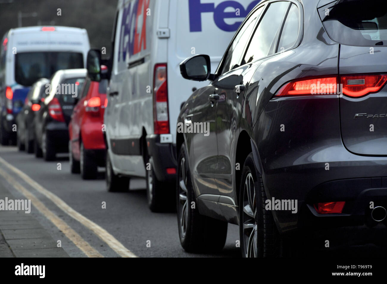 Traffic congestion on a UK road. - Stock Image