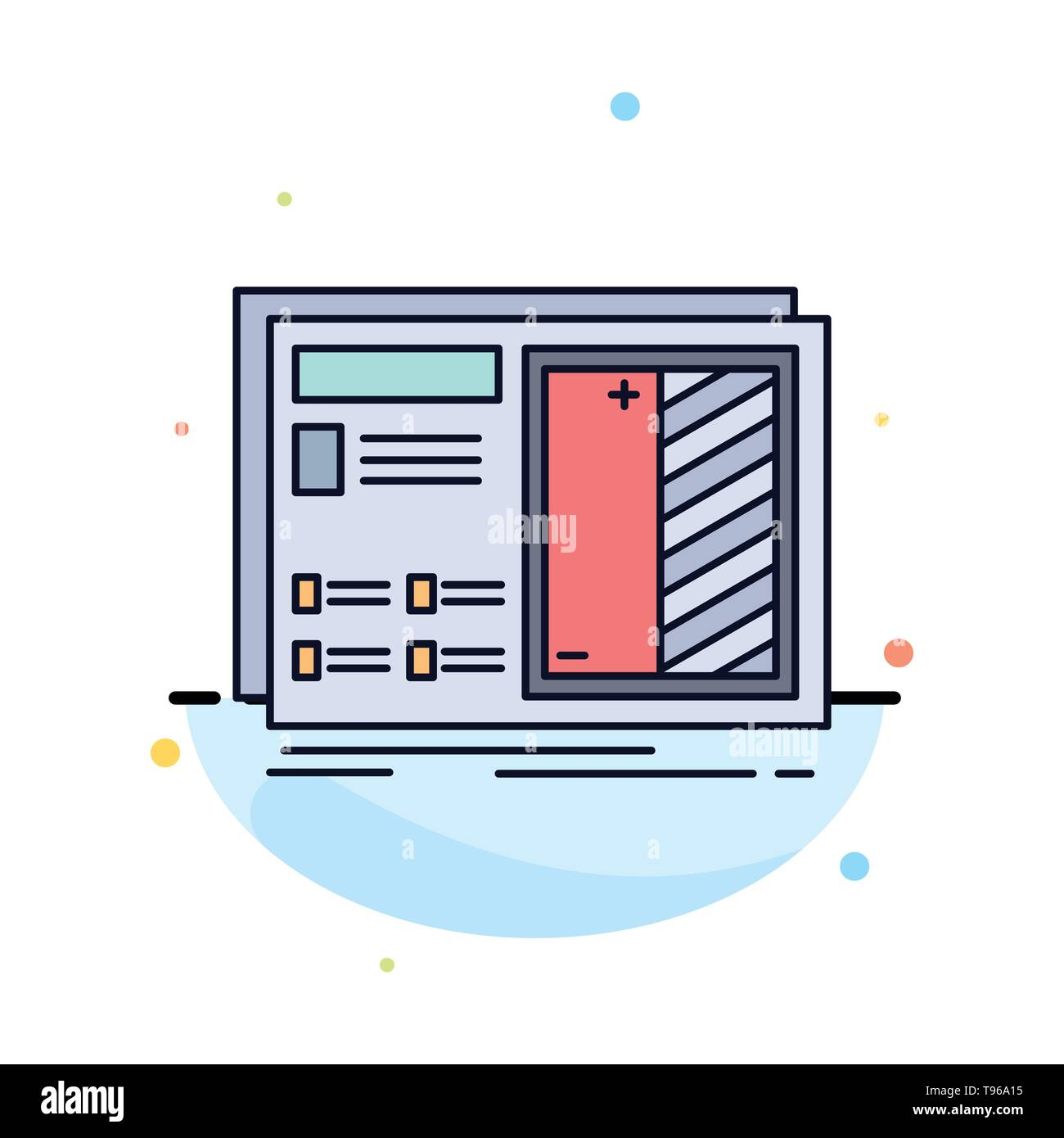 Blueprint, design, drawing, plan, prototype Flat Color Icon Vector - Stock Image