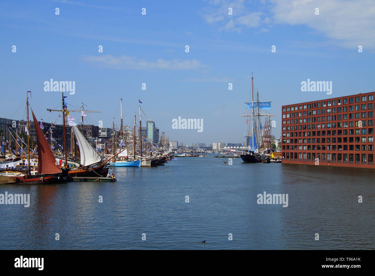 Amsterdam, the Netherlands - August 22, 2015: Long view over IJ harbor during SAIL Amsterdam 2015. - Stock Image