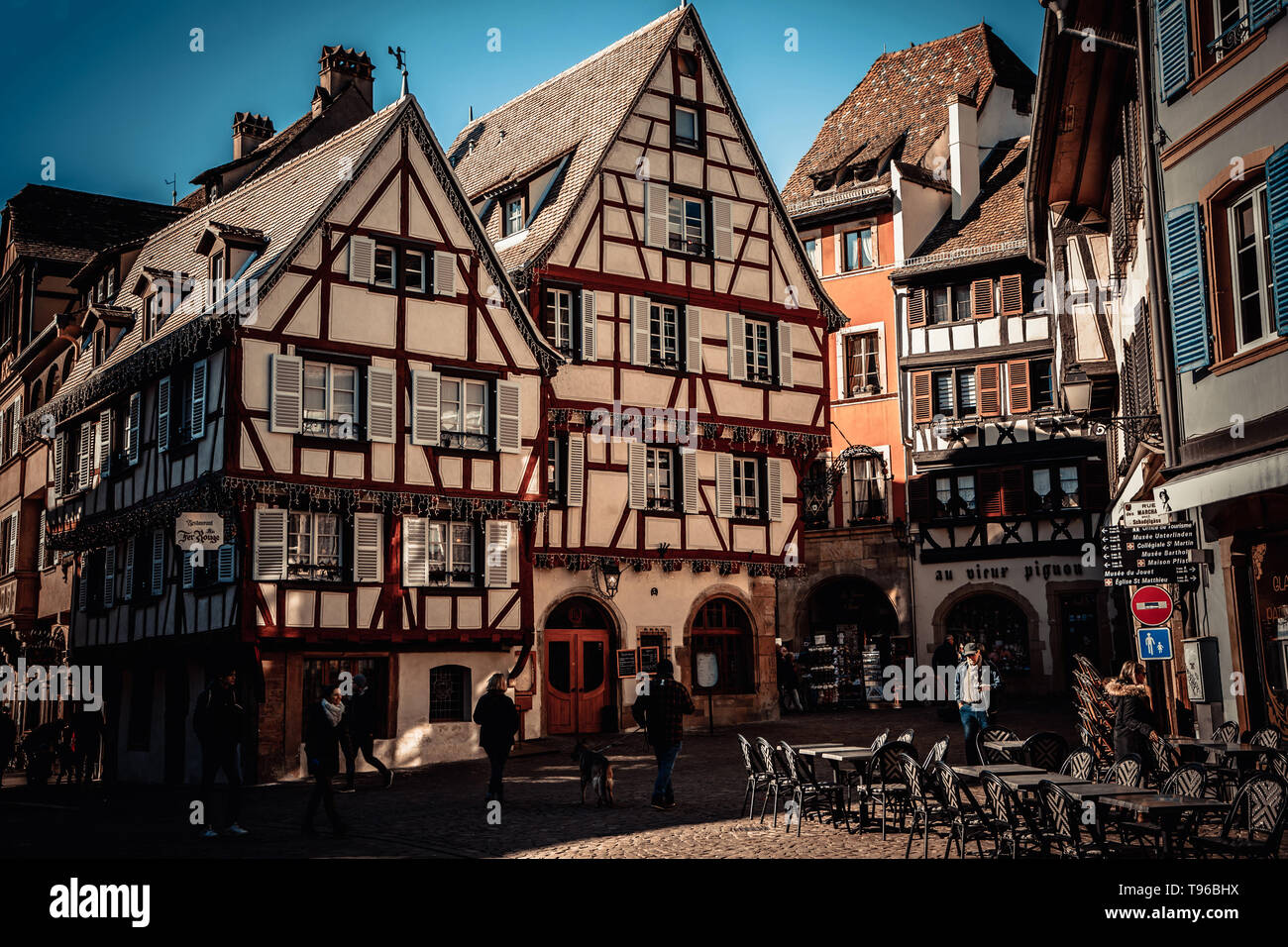 Colmar, Alsace, France, February 24, 2019. Cozy and beautiful streets of the French city on a sunny spring warm day - Stock Image