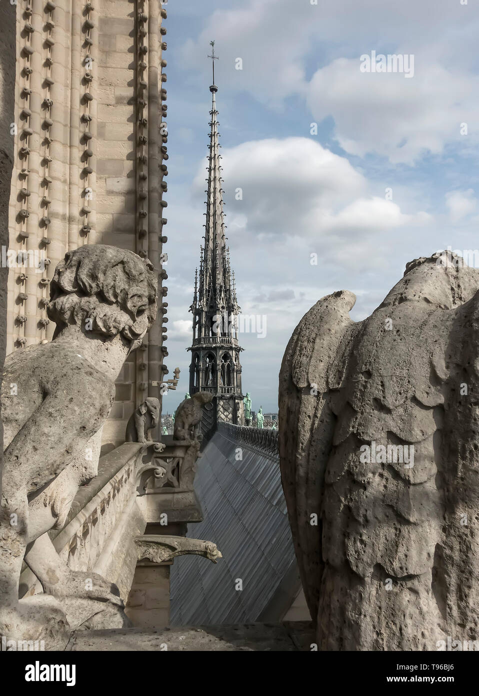 PHOTO: Spire and gargoyles on Notre Dame cathedral, Paris, France - Stock Image