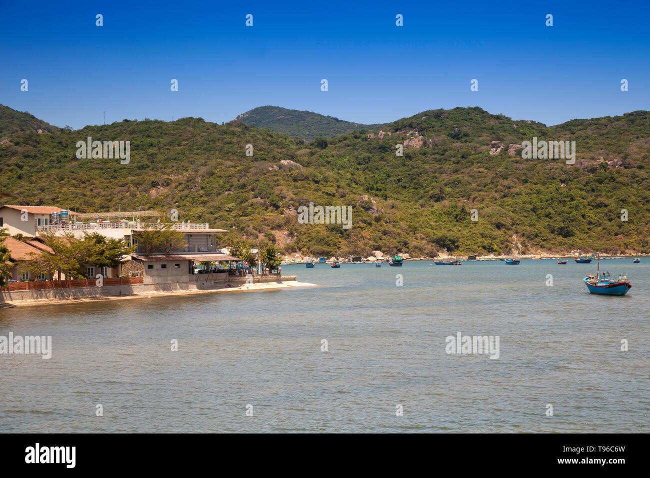 Landscape with fishing boats ,bay at Vinh Hy, South China Sea,Ninh Thuan, Vietnam - Stock Image