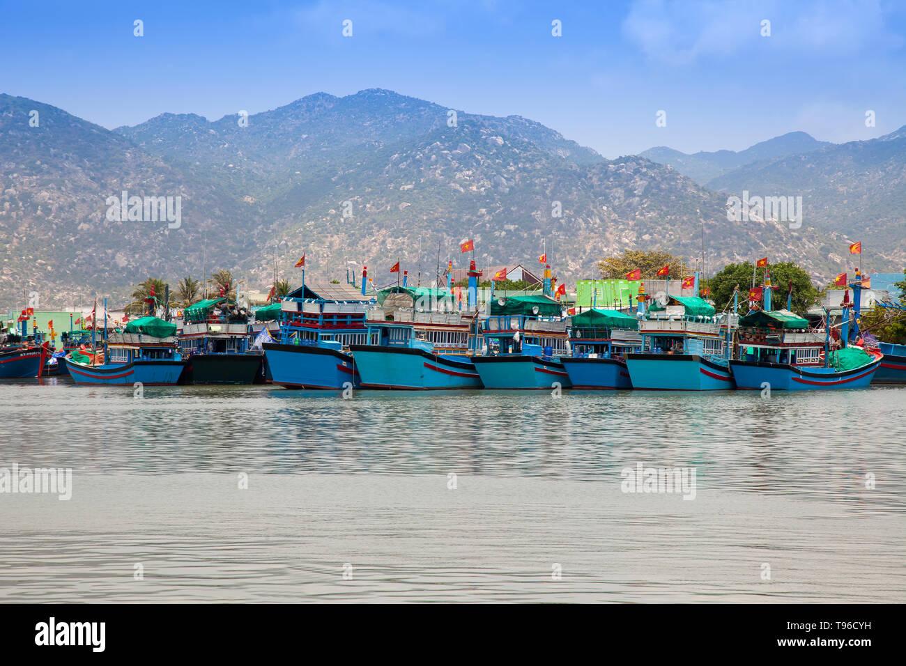 Vietnamese fishing boats in the port near Cana,south china sea,Vietnam,asia - Stock Image