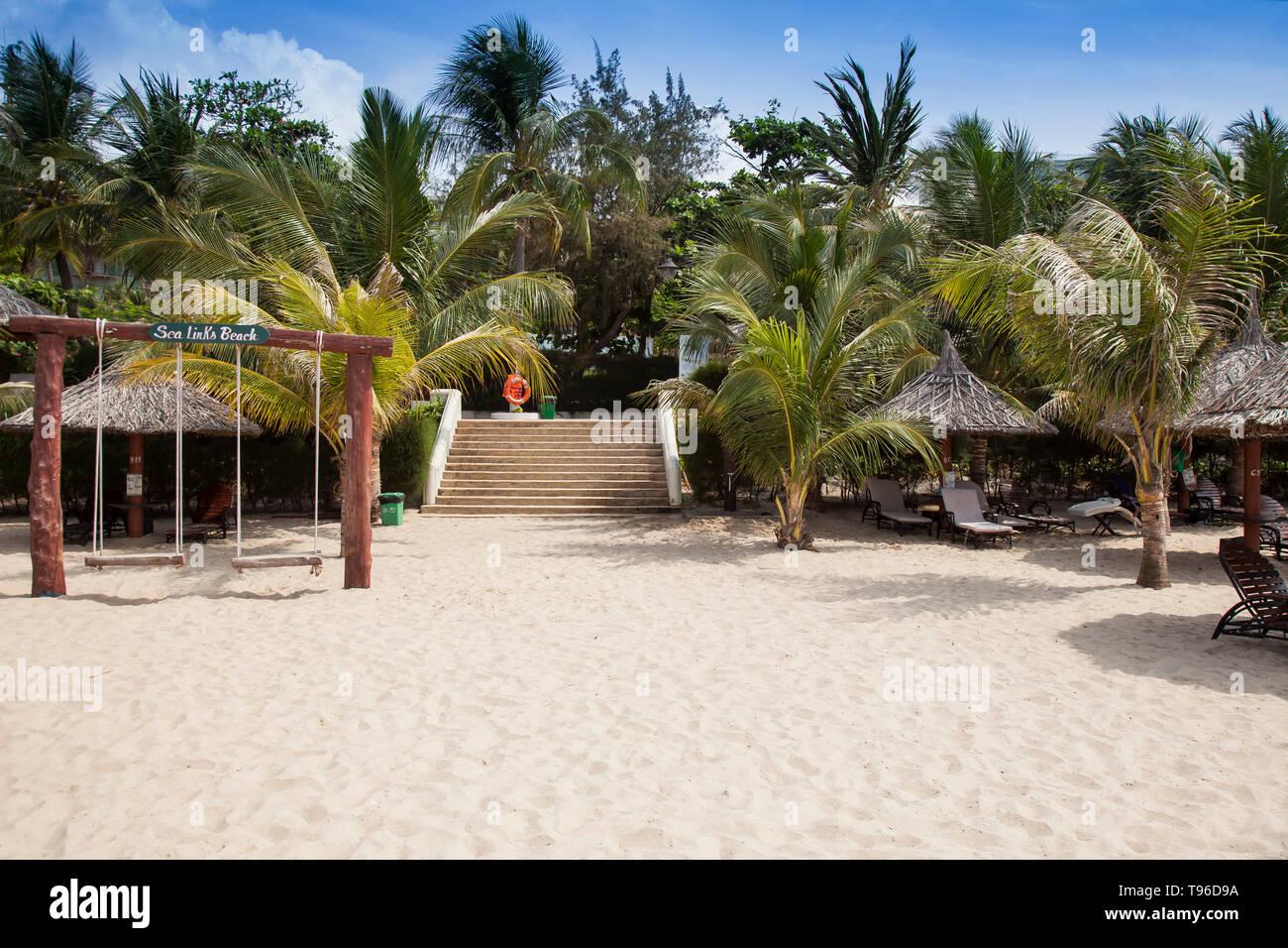 Palm Beach at the Sea Link Resort, Mui Ne, Vietnam, asia - Stock Image