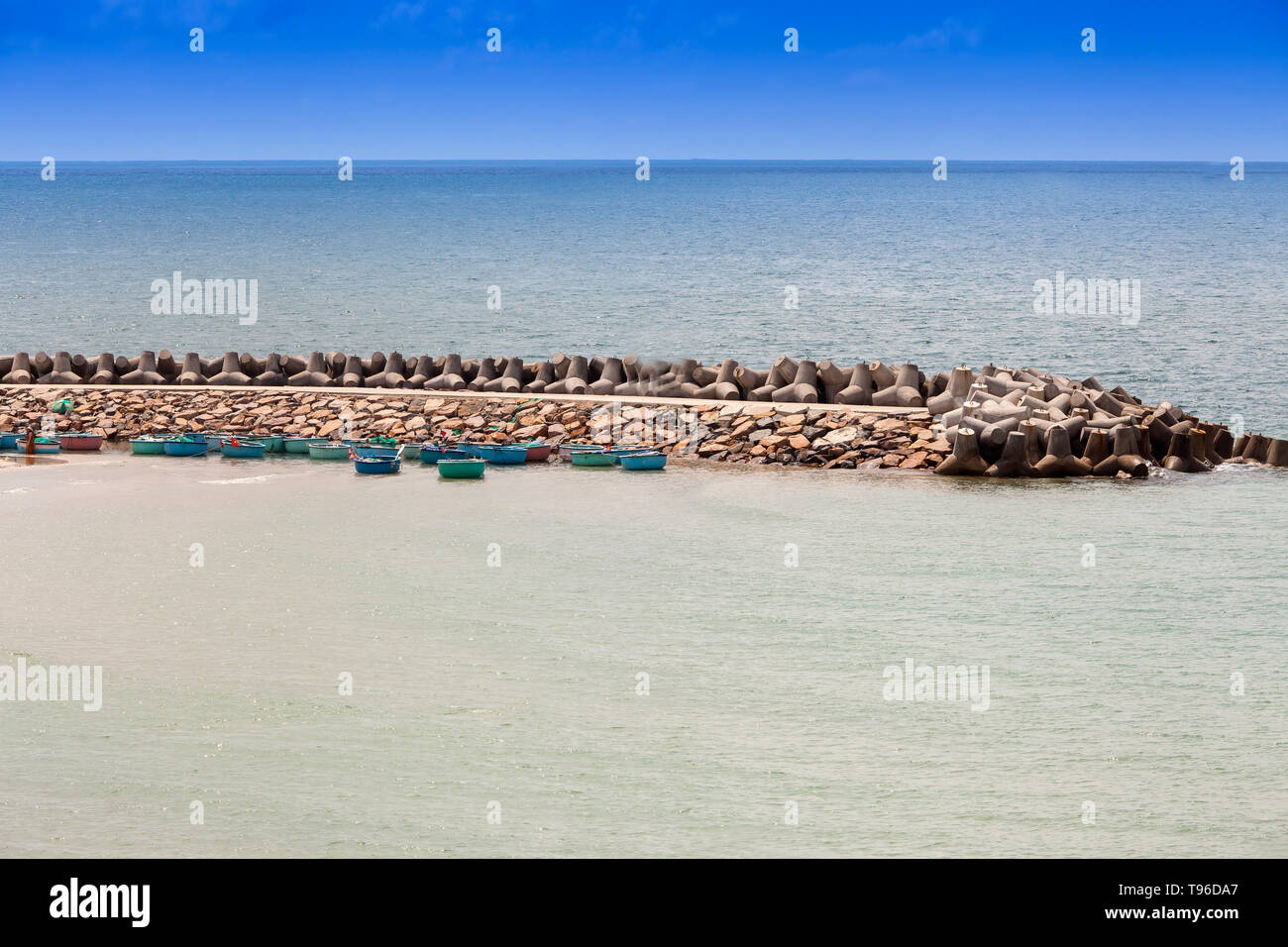 Round boats in the harbor of Phan Thiet,south china sea, Vietnam, Asia - Stock Image