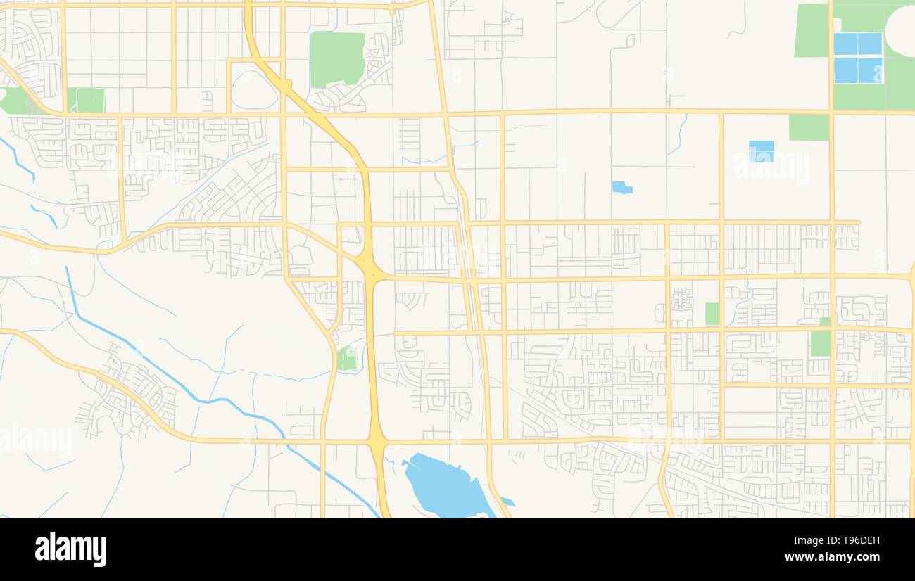 Empty vector map of Palmdale, California, USA, printable road map ...