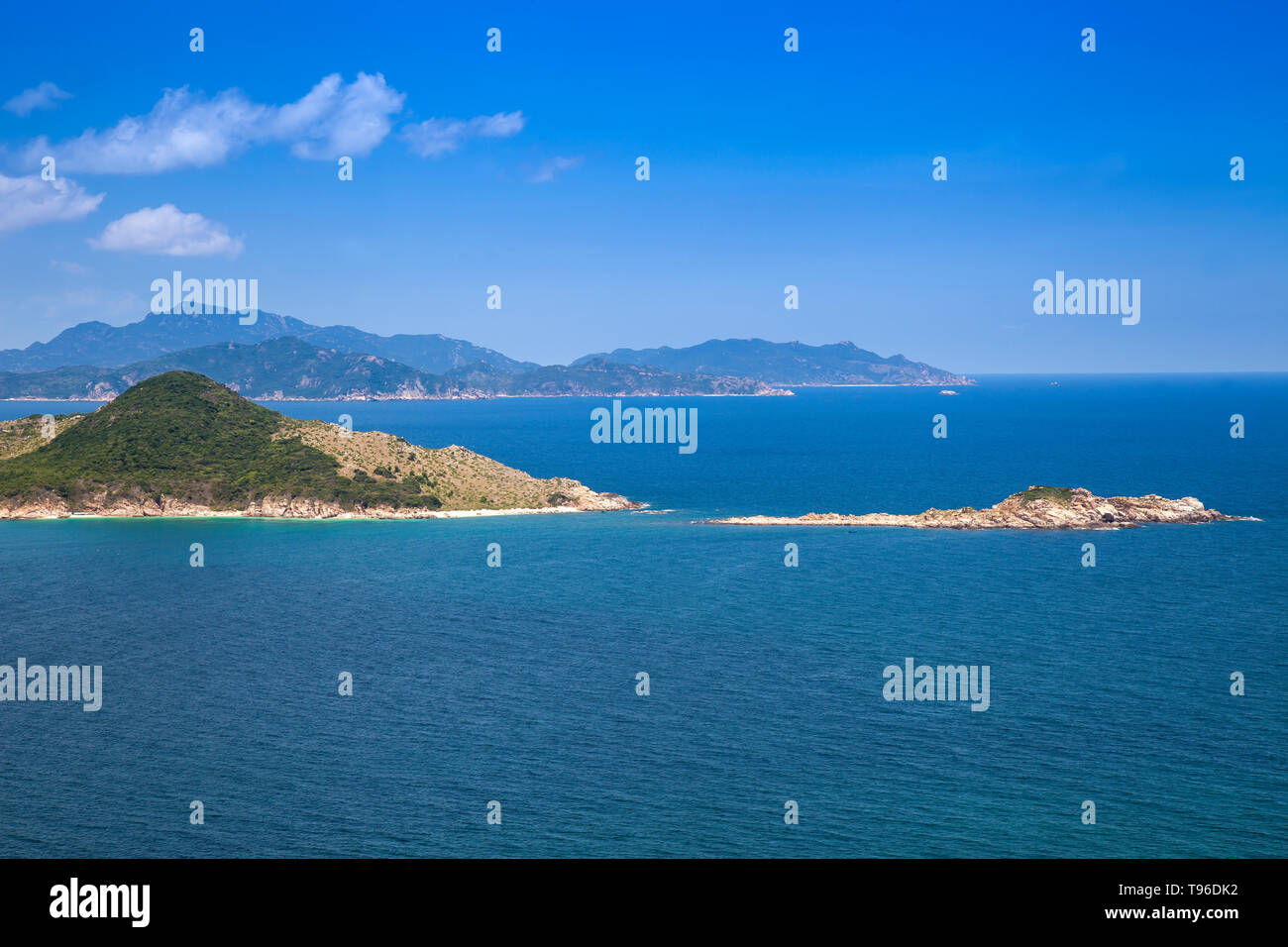 Rocky coast landscape at Vinh Hy, South China Sea,Ninh Thuan, Vietnam - Stock Image