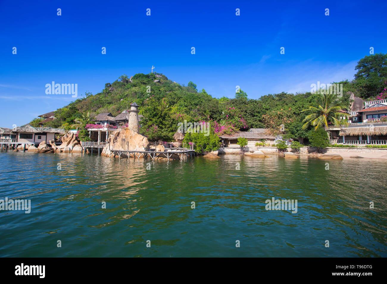Small bungalow resort Ngoc Suong, in Cam Ranh Bay,south china sea, Nha Trang, Vietnam, Asia Stock Photo