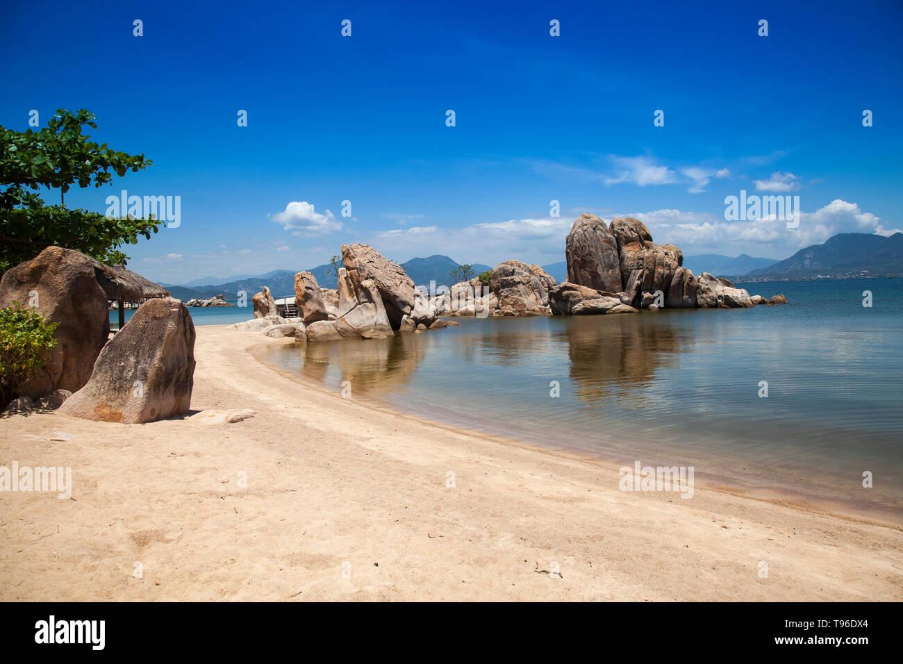 The beach from the Small bungalow resort Ngoc Suong, in Cam Ranh Bay,south china sea, Nha Trang, Vietnam, Asia Stock Photo
