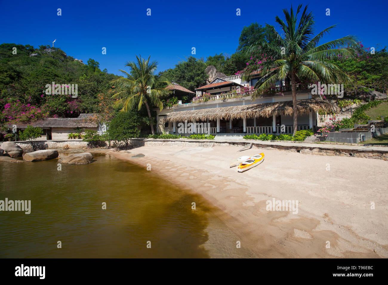 Small bungalow resort Ngoc Suong, in Cam Ranh Bay,south china sea, Nha Trang, Vietnam, Asia - Stock Image
