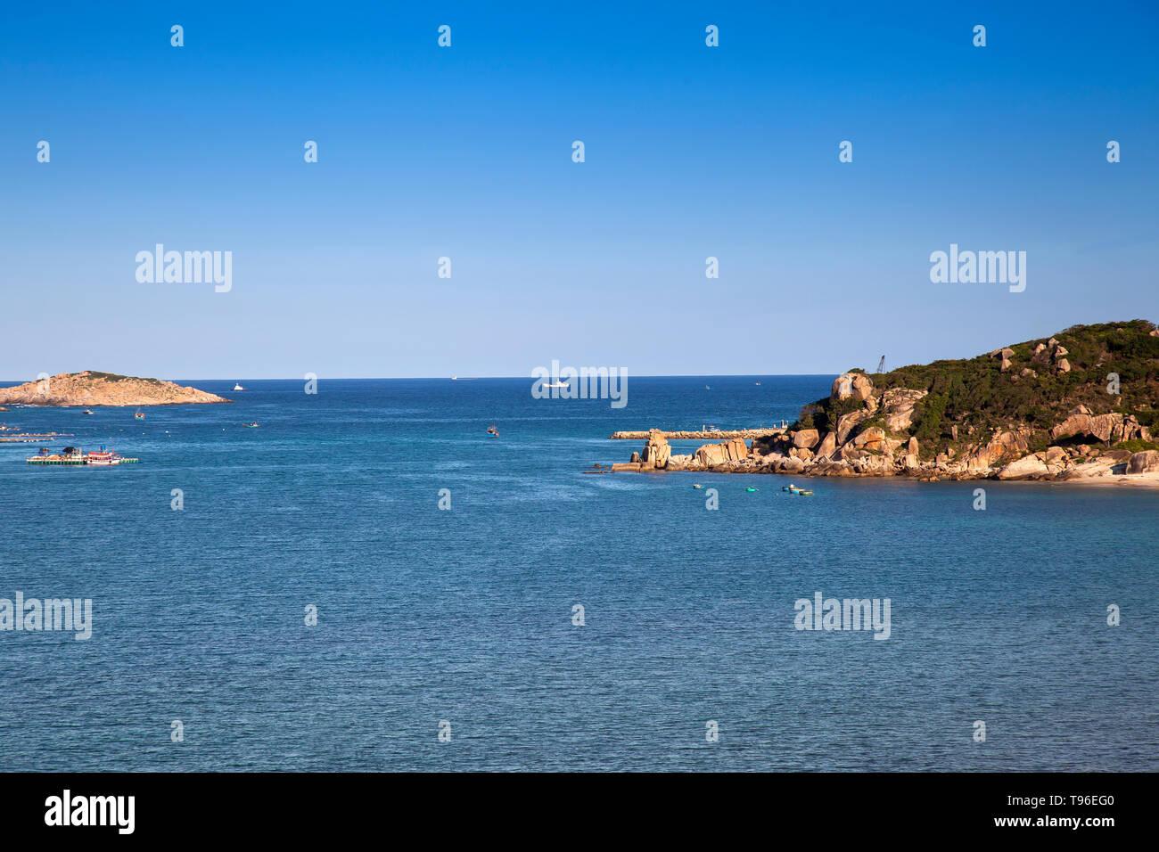 Rocky coast landscapelook at island Binh Houng at Vinh Hy, South China Sea,Ninh Thuan, Vietnam - Stock Image