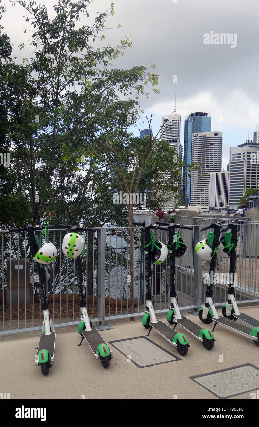 Lime electric scooters, New Farm, Brisbane, Queensland, Australia. No PR - Stock Image