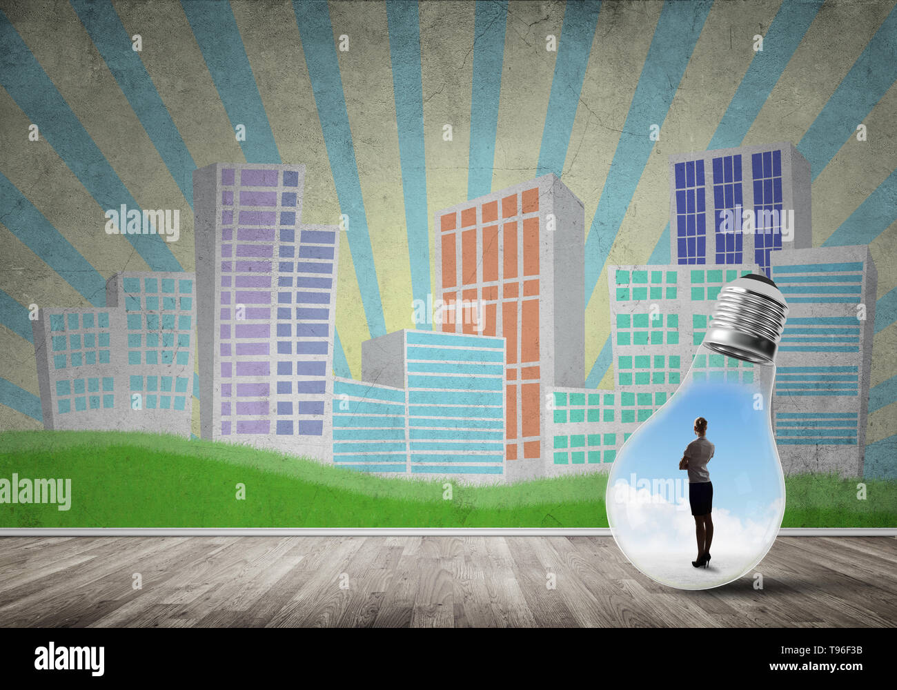 Businesswoman trapped in bulb - Stock Image
