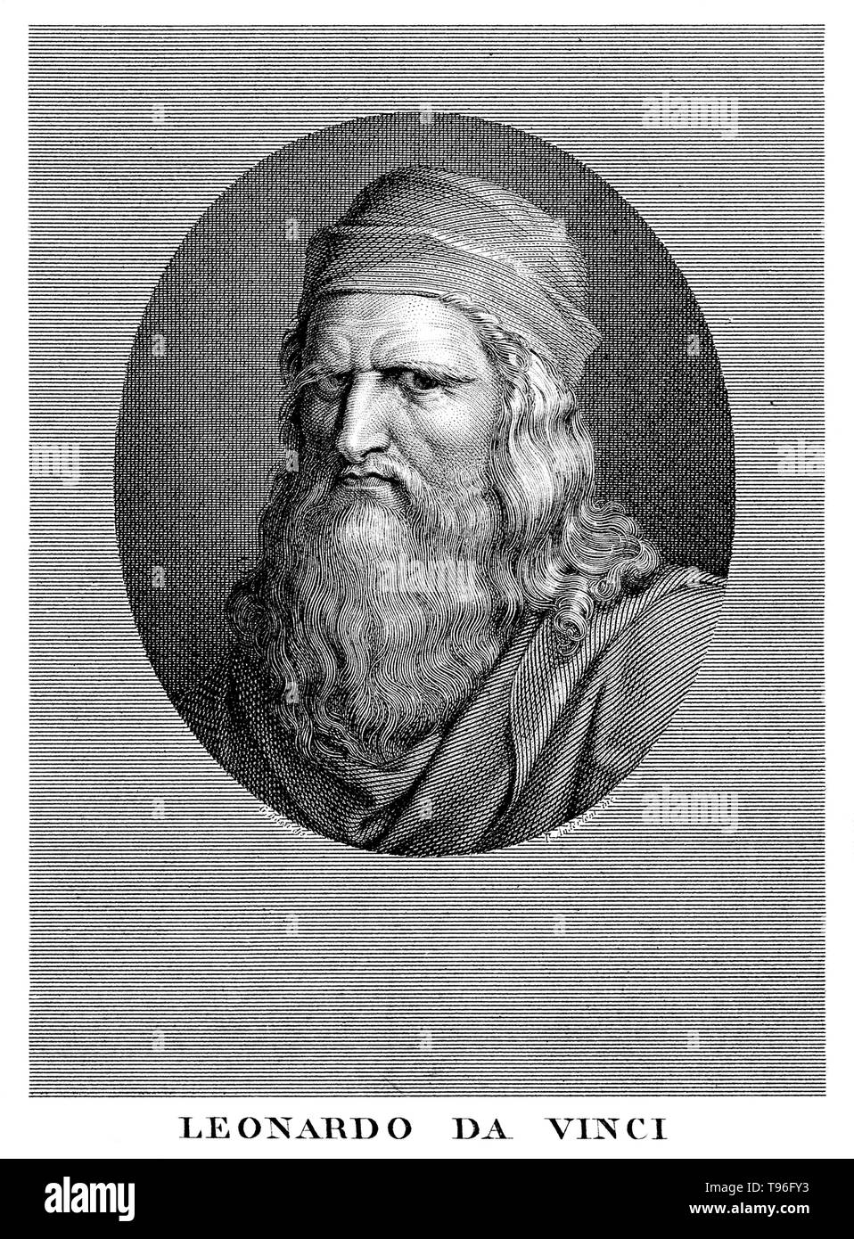 Leonardo di ser Piero da Vinci (April 15, 1452 - May 2, 1519) was an Italian Renaissance polymath: painter, sculptor, architect, musician, mathematician, engineer, inventor, anatomist, geologist, cartographer, botanist, and writer. His genius, perhaps more than that of any other figure, epitomized the Renaissance humanist ideal, often been described as the archetype of the Renaissance Man. He is widely considered to be one of the greatest painters of all time and perhaps the most diversely talented person ever to have lived. He is also revered for his technological ingenuity. He conceptualized - Stock Image