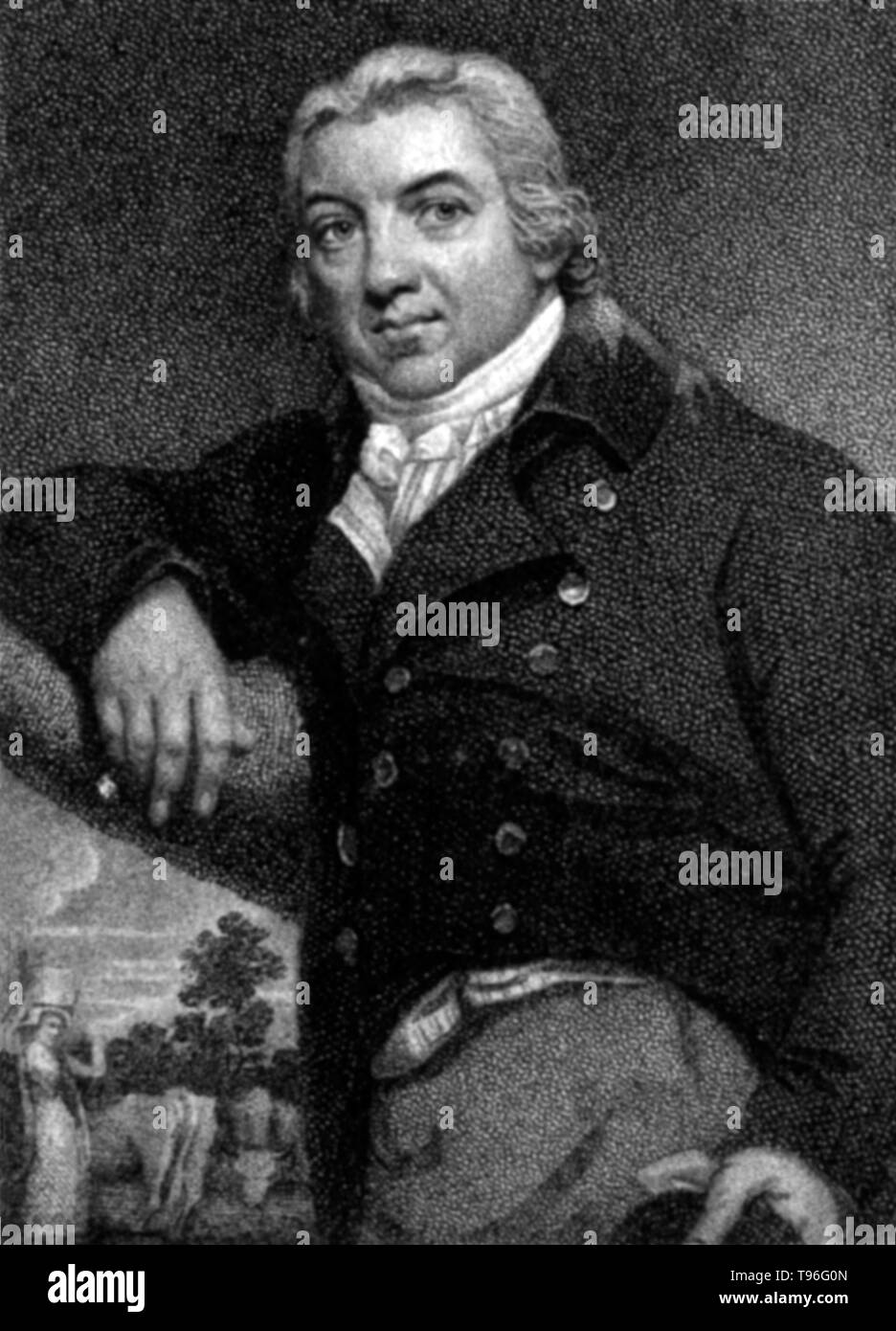 Edward Jenner (May 17, 1749 - January 26, 1823) was an English physician and scientist who was the pioneer of smallpox vaccine, the world's first vaccine. His work is said to have saved more lives than the work of any other human. In Jenner's time, smallpox killed around 10 percent of the population, with the number as high as 20 percent in towns and cities where infection spread more easily. In 1821 he was appointed physician extraordinary to King George IV, and was also made mayor of Berkeley and justice of the peace. A member of the Royal Society, in the field of zoology he was the first pe - Stock Image