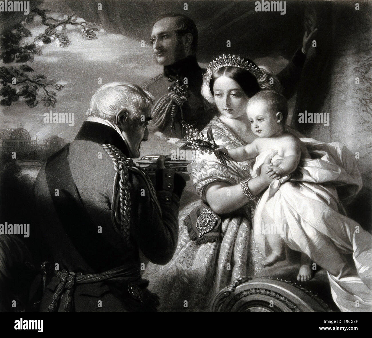 The Duke of Wellington is presenting a birthday casket to his godson Prince Arthur in the presence of Queen Victoria and Prince Albert. Arthur Wellesley, 1st Duke of Wellington (May 1, 1769 - September 14, 1852), was an Anglo-Irish soldier and statesman. Wellesley rose to prominence as a general during the Peninsular campaign of the Napoleonic Wars, and was promoted to the rank of field marshal after leading the allied forces to victory against the French Empire at the Battle of Vitoria in 1813. Following Napoleon's exile in 1814, he served as the ambassador to France and was granted a dukedom - Stock Image