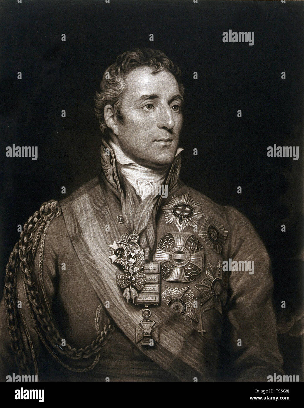 Arthur Wellesley, 1st Duke of Wellington (May 1, 1769 - September 14, 1852), was an Anglo-Irish soldier and statesman. Wellesley rose to prominence as a general during the Peninsular campaign of the Napoleonic Wars, and was promoted to the rank of field marshal after leading the allied forces to victory against the French Empire at the Battle of Vitoria in 1813. Following Napoleon's exile in 1814, he served as the ambassador to France and was granted a dukedom. During the Hundred Days in 1815, he commanded the allied army which, together with a Prussian army under Blücher, defeated Napoleon at - Stock Image