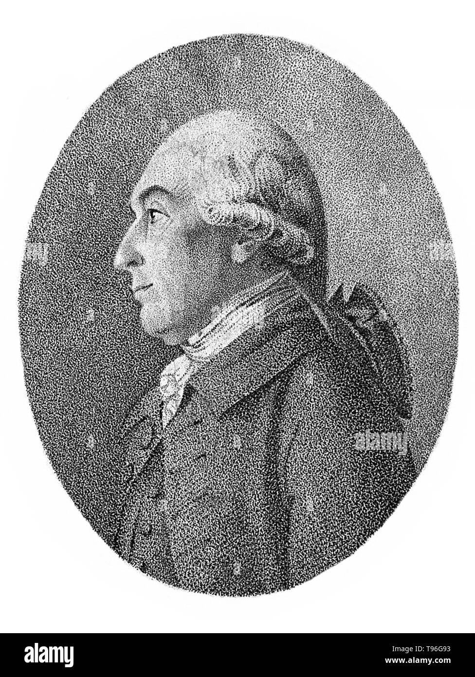 Joseph Black (April 16, 1728 - December 6, 1799) was a Scottish physician and chemist, known for his discoveries of magnesium, latent heat, specific heat, and carbon dioxide. In 1750, while still a student, Black developed the analytical balance based on a light-weight beam balanced on a wedge-shaped fulcrum. Each arm carried a pan on which the sample or standard weights was placed. It far exceeded the accuracy of any other balance of the time and became an important scientific instrument in most chemistry laboratories. He was Professor of Anatomy and Chemistry at the University of Glasgow for - Stock Image