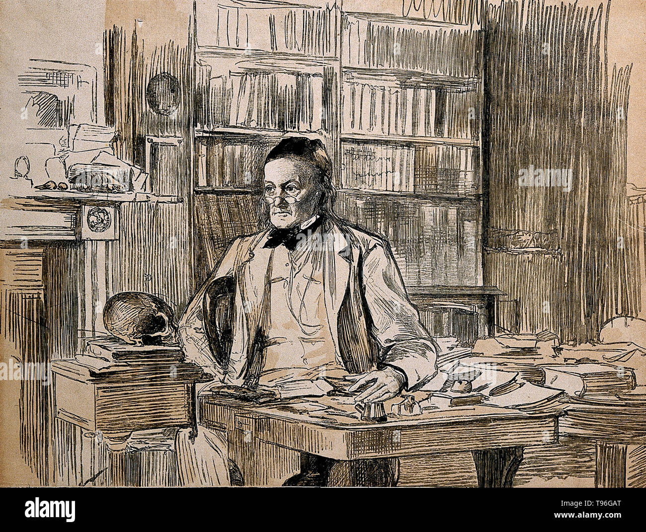 Richard Owen (July 20, 1804 - December 18, 1892) was an English biologist, comparative anatomist and paleontologist. One of his positions was that of prosector for the London Zoo, which meant that he had to dissect and preserve any zoo animals that died in captivity. This gave him vast experience with the anatomy of exotic animals. He produced a vast array of scientific work, but is probably best remembered today for coining the word Dinosauria. Stock Photo